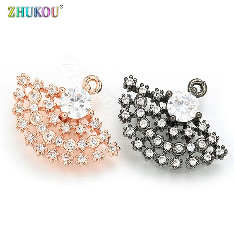 ZHUKOU 16x20 milímetros Setor de estilo Coreano Doce Pequeno Pingente de Metal Encantos De Cristal para Colar de Jóias Acessórios modelo VD321