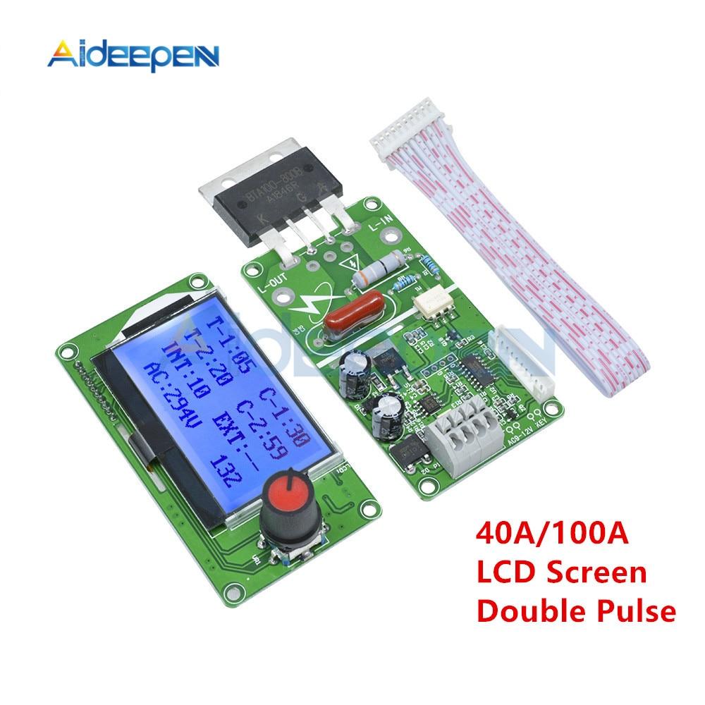40A 100A ЖК-дисплей цифровой двойной импульсный кодер точечный сварщик сварочный трансформатор контроллер плата электрическая точечная Сварк...