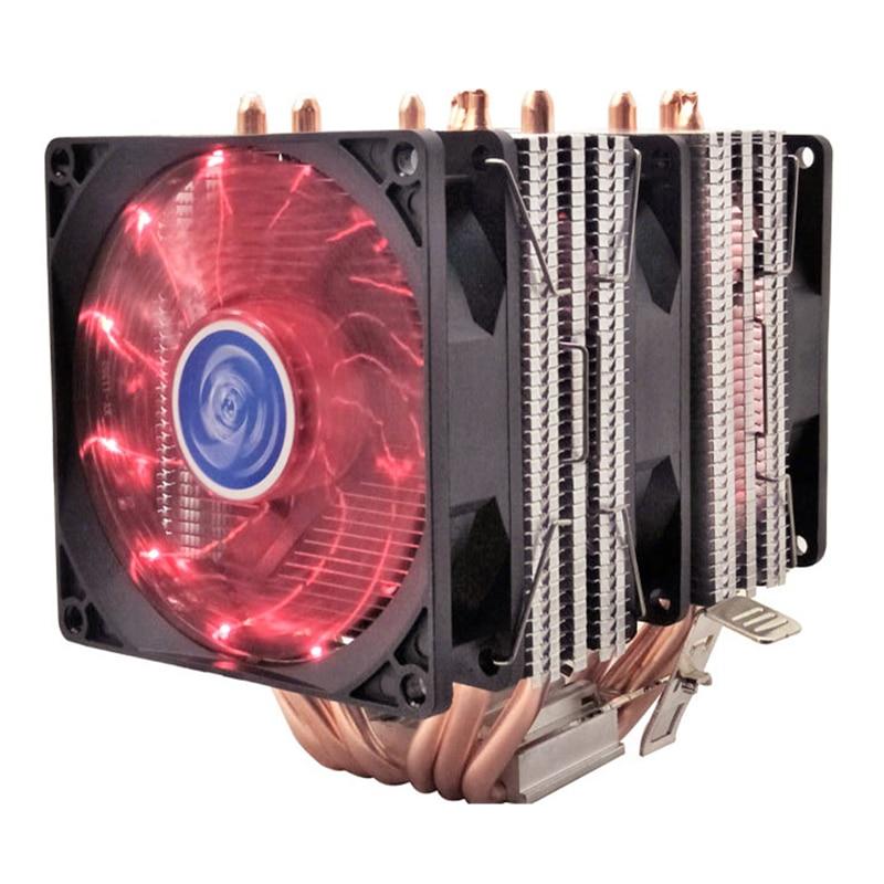 4 6 heatpipe enfriador de CPU Intel 775/1150/1151/1155/1156/1366/2011 AMD 4pin dual-torre de enfriamiento de 9 cm ventilador de luz LED