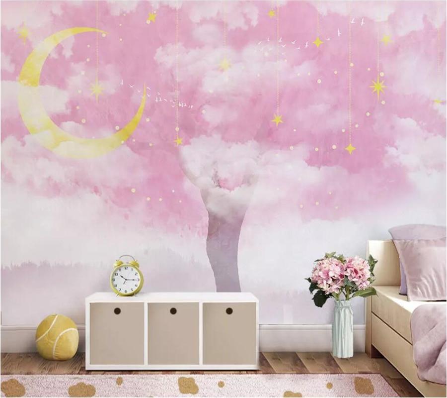 Papel pintado personalizado beibehang 3d foto mural Rosa cálido árbol grande estrella viento nórdico TV papeles de pared de fondo decoración del hogar papel tapiz 3d
