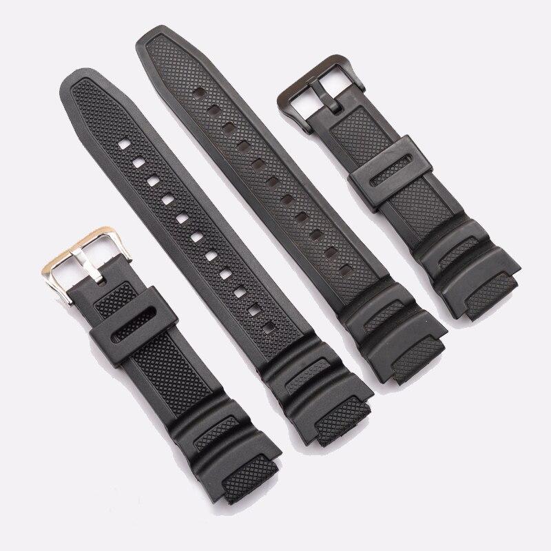 Schwarz silikon uhrenarmband-bügel ersatz strap für casio sgw-300h sgw-400h ae-1000w aq-s810w wasserdichte sport driving uhr