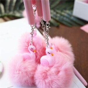 0.5 mm Gel Pen Plush Ball Flamingo Lucky Pink Promotional Gift Stationery Pompon Ball Gel Pen kawaii pennen cute pens