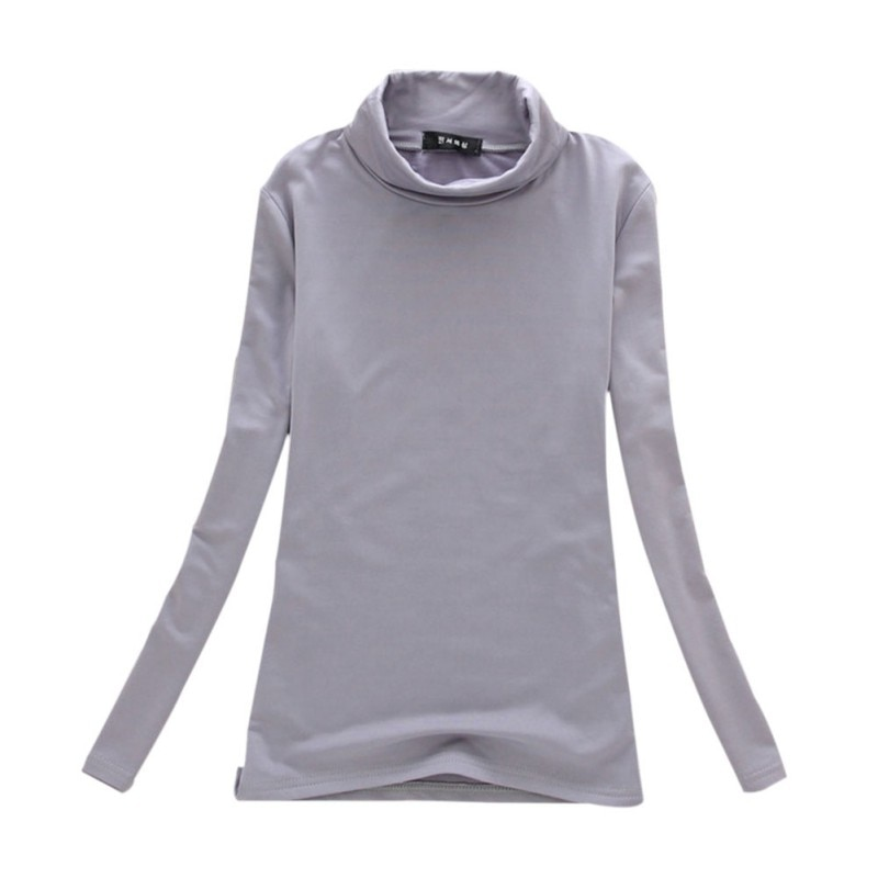 Camiseta de otoño para Mujer, camisetas de manga larga, Poleras lisas de cuello alto, Camiseta básica informal para Mujer, camisetas de fondo de invierno