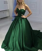 china green sweetheart sleeveless lace applique crystal ball gown satin evening dresses lace up back prom party gowns cheap