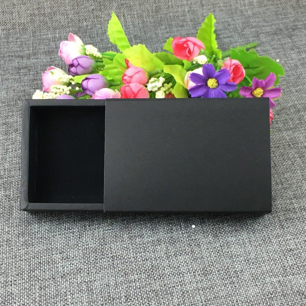 24 unids/lote 11,5*8*2,2 cm caja de papel negro regalo, caja de regalo Cajón Negro, caja de embalaje de regalo de papel con terciopelo negro