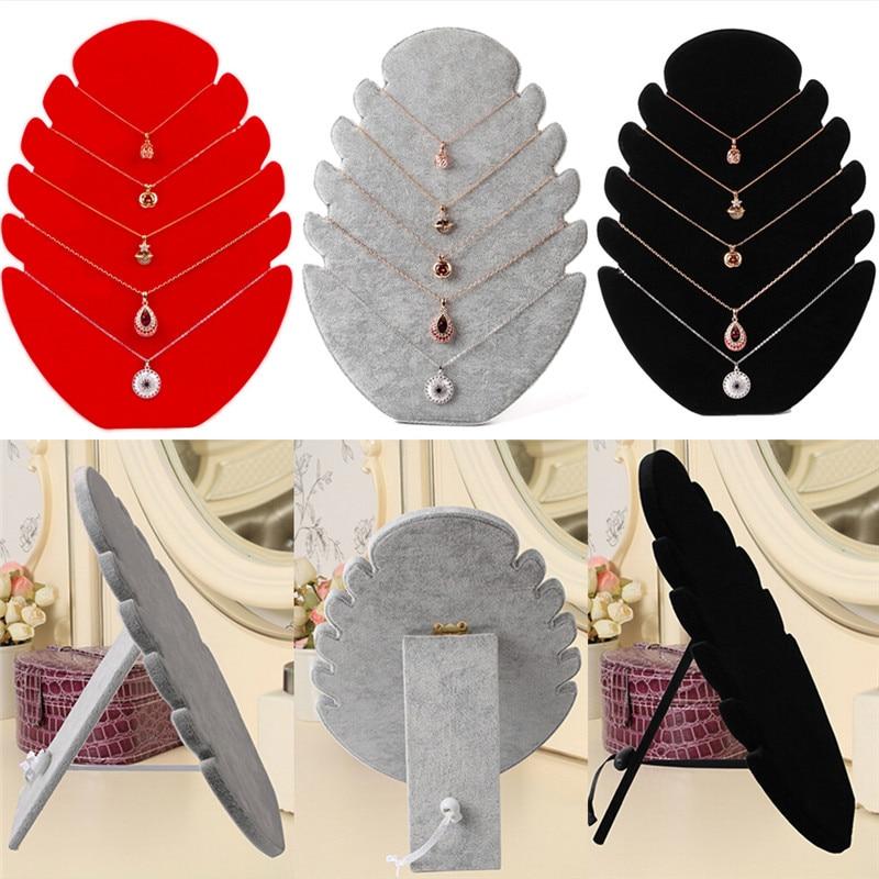 1pc multi-fonctionnel collier bijoux pendentif chaîne présentoir support velours chevalet organisateur support femmes bijoux stockage