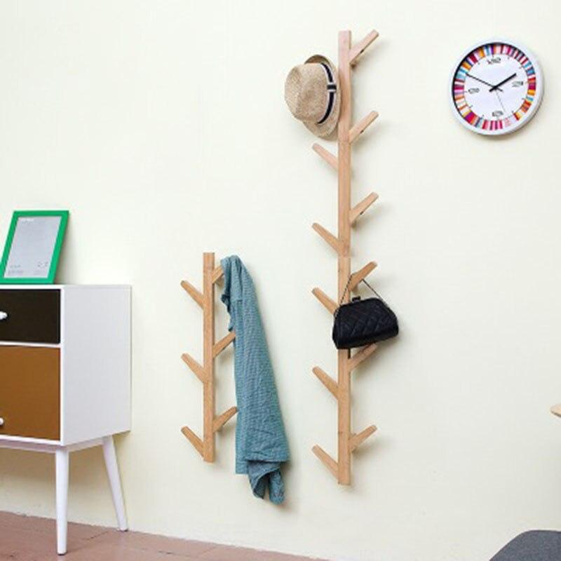 De bambú abrigo bolsa sombrero pared estantes de pared colgante Rack percha decorativa para Hall de entrada dormitorio habitación Dec bastidores