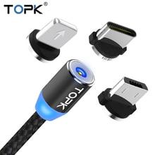 TOPK R-Line1 LED Câble Magnétique USB Type-c & Micro Câble USB Tressé Fils Aimant Câble Chargeur Pour iPhone X 8 7 6 Plus USB-C