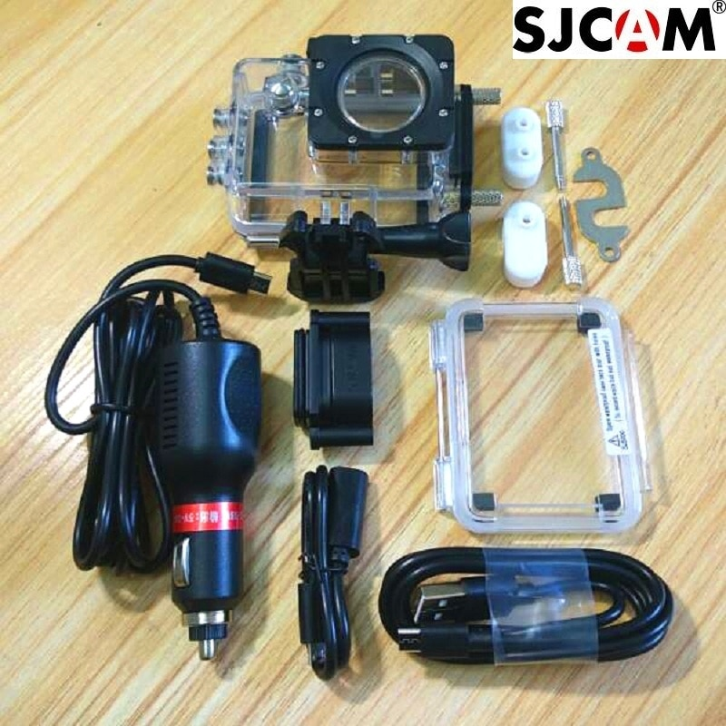 Clownfish كاميرا مقاوم للماء الإسكان ل SJCAM الأصلي SJ4000 SJ5000 Sj9000 C30 C30R EKEN H9 R مع شاحن سيارة دراجة نارية