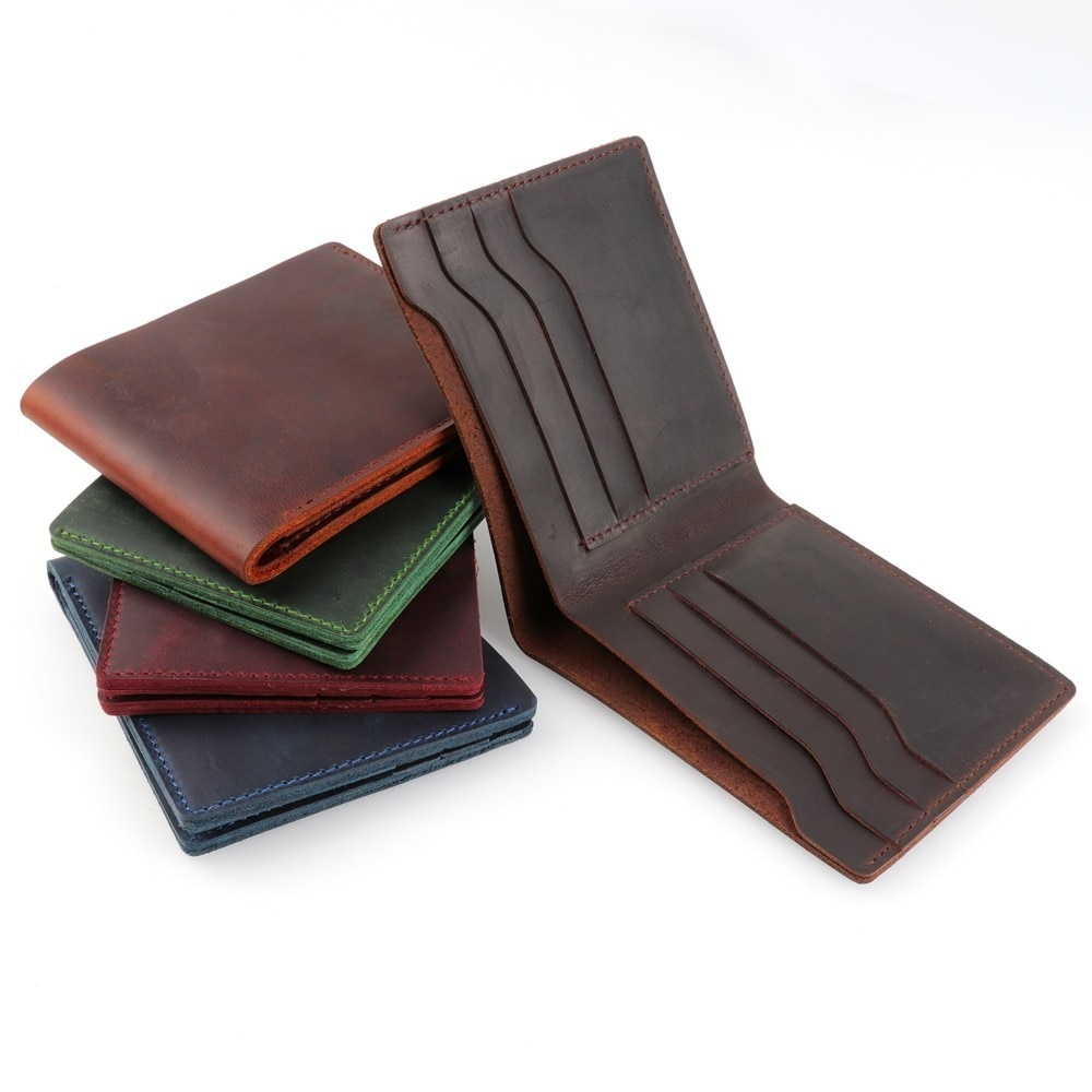 moterm 100% Genuine Leather Wallets Bifold Purse Vintage Crazy Horse Clutch Men wallets Retro Coin Pocket men