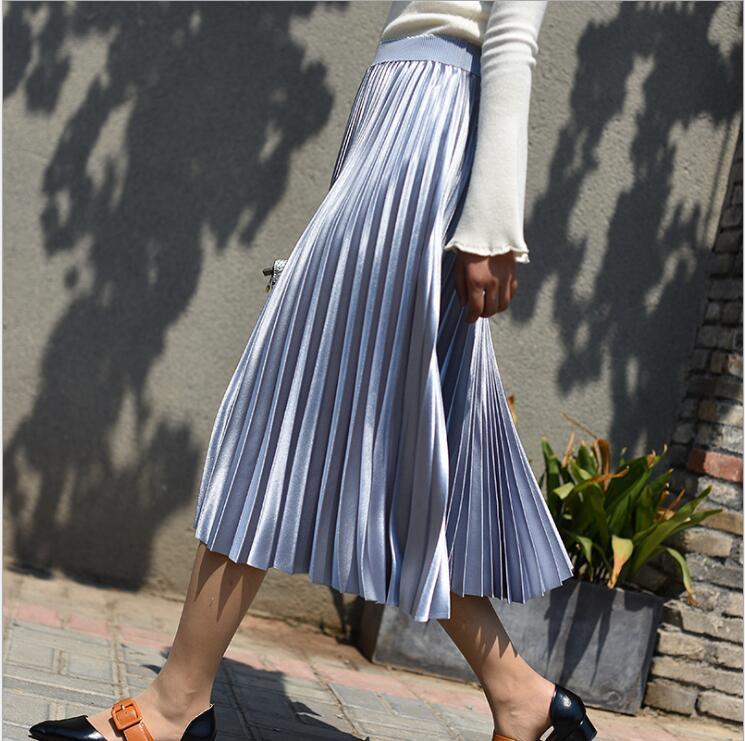 Qoth primavera nova mulher saias longas 11 cores moda feminina saias plissadas cintura alta midi saia faldas mujer saias qh1674