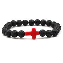 Classique pierre naturelle Bracelet croix rouge noir lave mat perlé Bracelets à la main hommes femmes prière chaîne Couple bijoux cadeau