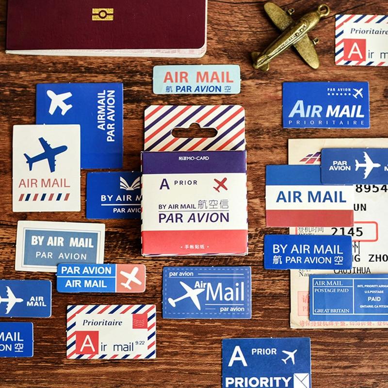 45Pcs/box Kawaii Air Mail Pattern Sticker Scrapbooking Creative DIY Diary Journal Decorative Adhesive Label Stationery Supplies