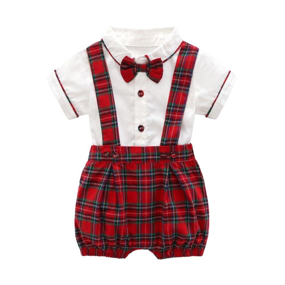 Ropa bonita de bebé recién nacido, traje de pantalón de manga corta de cuadros rojos festivos de algodón, Pelele con diseño de camisa + Pantalones