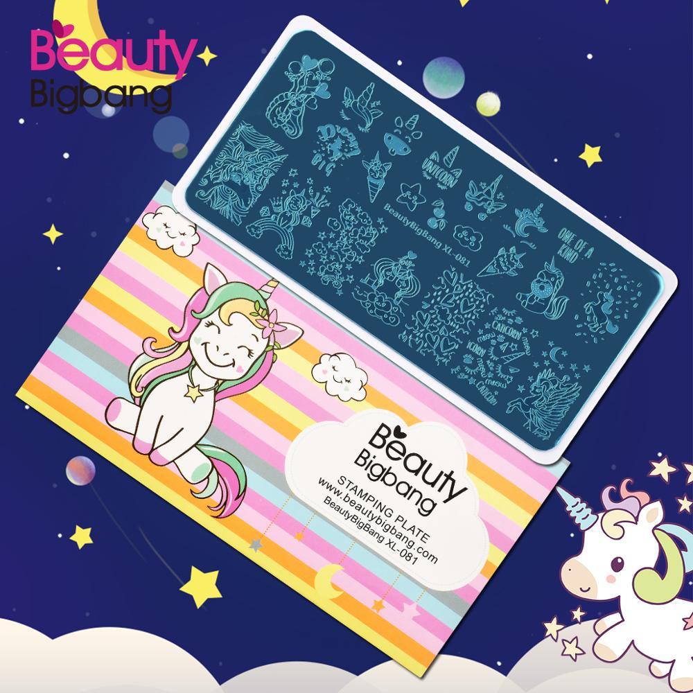 Beautybigbang 6*12 см штампованные пластины XL-081 облако звезда милый Единорог шаблон пластина для стемпинга для нейл-арта печать изображения