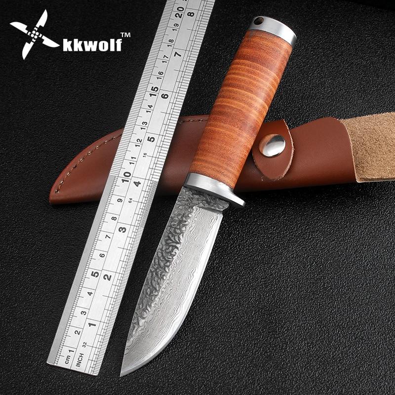 KKWOLF охотничий нож с кожаной ручкой, острый тактический нож с фиксированным лезвием для выживания, ручной работы, дамасская сталь, нож для ке...