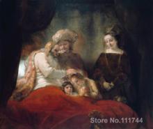 Toile art Jacob bénédiction des fils de Joseph   Rembrandt van Rijn, peintures les plus célèbres, peintures peintes à la main de bonne qualité