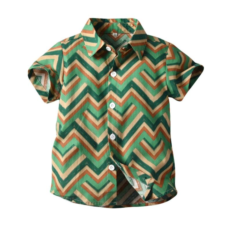 boys stripe Summer Boys Shirts Stripe Blouse Beach Short Sleeve Baby Boy Shirt Casual Boys Shirt With Half Collar For Children Top