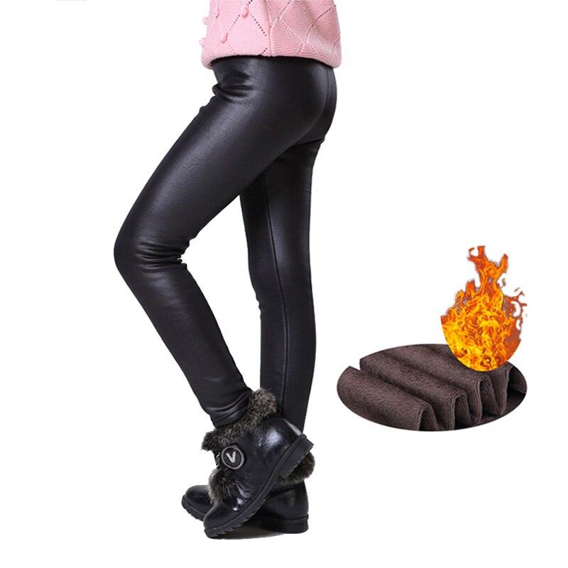 Теплые зимние леггинсы для девочек обтягивающие детские штаны из искусственной кожи и плотного бархата, брюки для девочек, Bambina Getry Pantalones