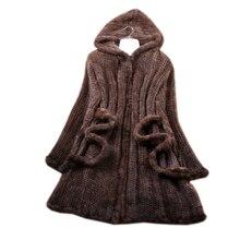 Manteau en fourrure de vison en tricot naturel, veste dhiver en véritable fourrure Trench Coat pour femmes manteaux à capuche pour vêtements haut taille 4XL 5XL