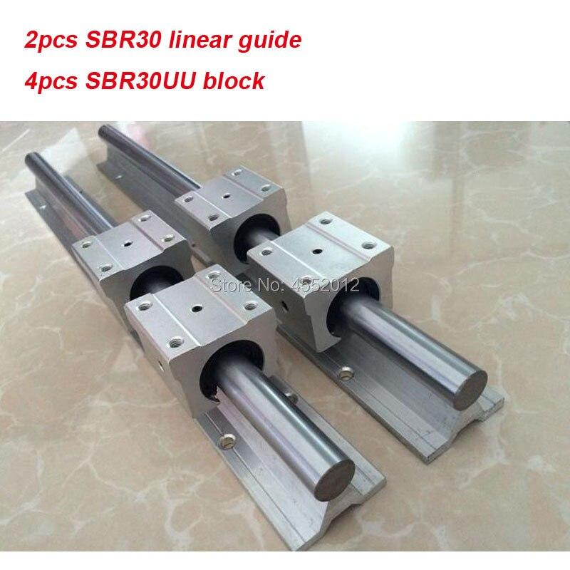 30mm linear rail 2 pcs SBR30 800mm 1000mm e 4 pcs SBR30UU bloco linear para peças cnc