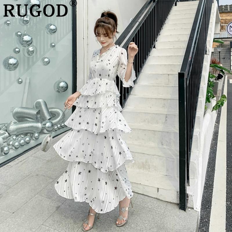 RUGOD New 2019 fashion women dress layer high waist star print fairy style causal summer dress harajuku modis vestido verano