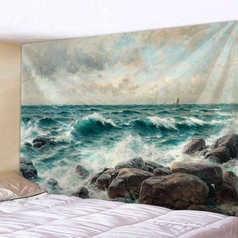 Surf Beach Tapestry Wall Hanging Sandy Beach Picnic Throw Rug Blanket Camping Tent Travel Sleeping Pad
