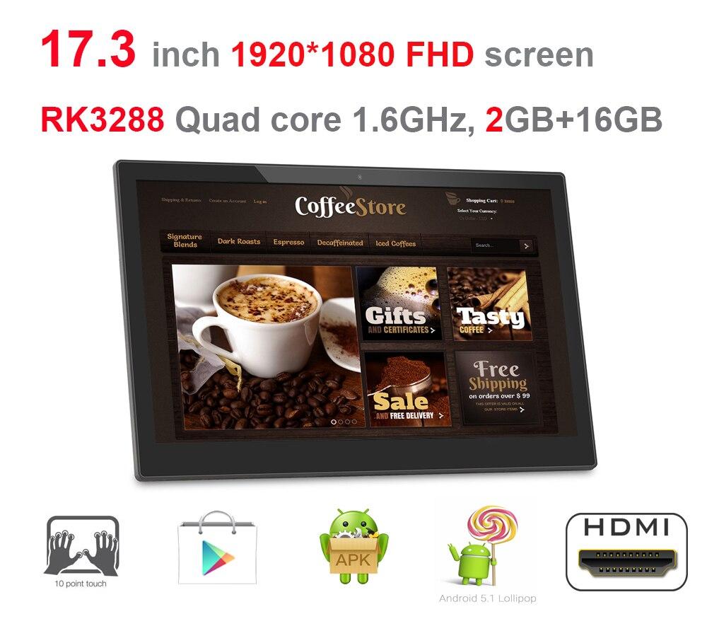 17.3 אינץ אנדרואיד חכם קיוסק, שילוט דיגיטלי תצוגה, כל במחשב אחד (RK3288, Quad core, lollipop, 2GB DDR3, 16 GB, wifi, RJ45)