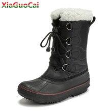 Winter Warm Boys Girls Snow Boots Waterproof Plush Thickening Cotton Shoes Soft  Bottom Non-slip Kids Children High Quality Boot