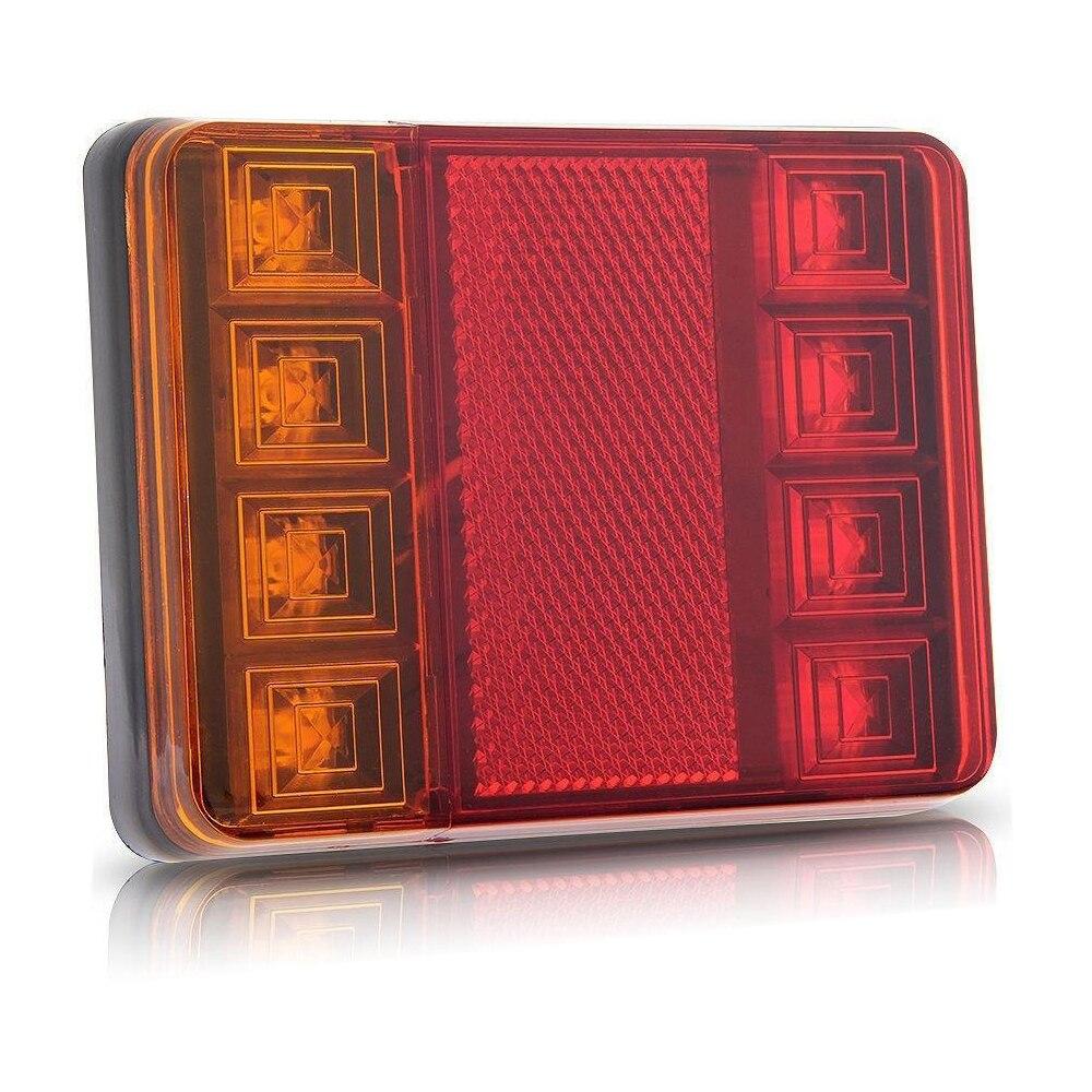 Castaleca 1Pcs Car Truck LED Rear Tail Light 12V 8LED Taillight Warning Brake Lamps Waterproof For Trailer Car Truck Van