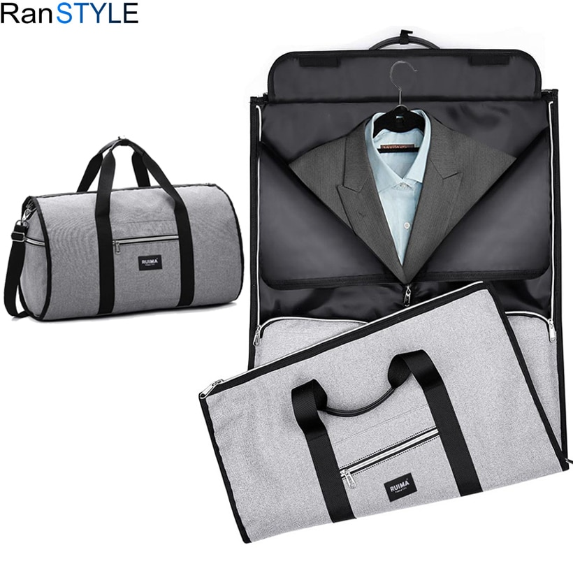 bagsmart waterproof black nylon gown garment bag for traveling with handle lightweight suit bag business men ravel bags for suit foldable suit bag waterproof oxford men travel bags hand luggage large foldable business travel bag for men suit bag