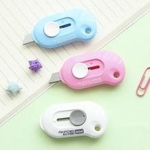 1 ud. Mini cuchillo de utilidad portátil de Color sólido, cortador de papel, cuchilla de afeitar, material de papelería escolar para oficina