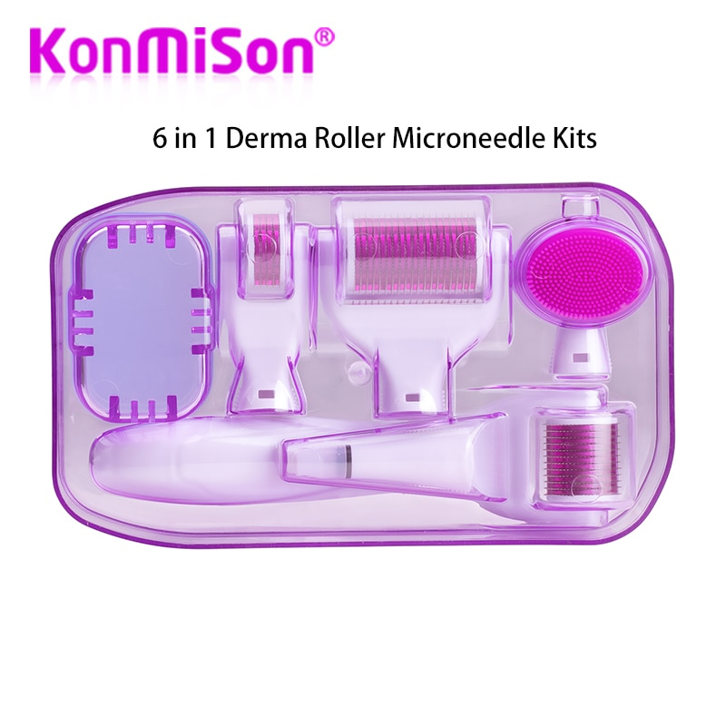 Drs originais 6 em 1 kits do rolo do derma microneedle para o tratamento múltiplo do rejuvenescimento dos cuidados com a pele agulhas rollor do microdermabrasion