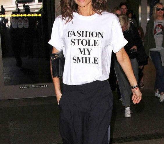 Moda estola mi sonrisa cita divertida camiseta victoria beckham estilo moda camiseta divertida cita camisetas hipster camisetas