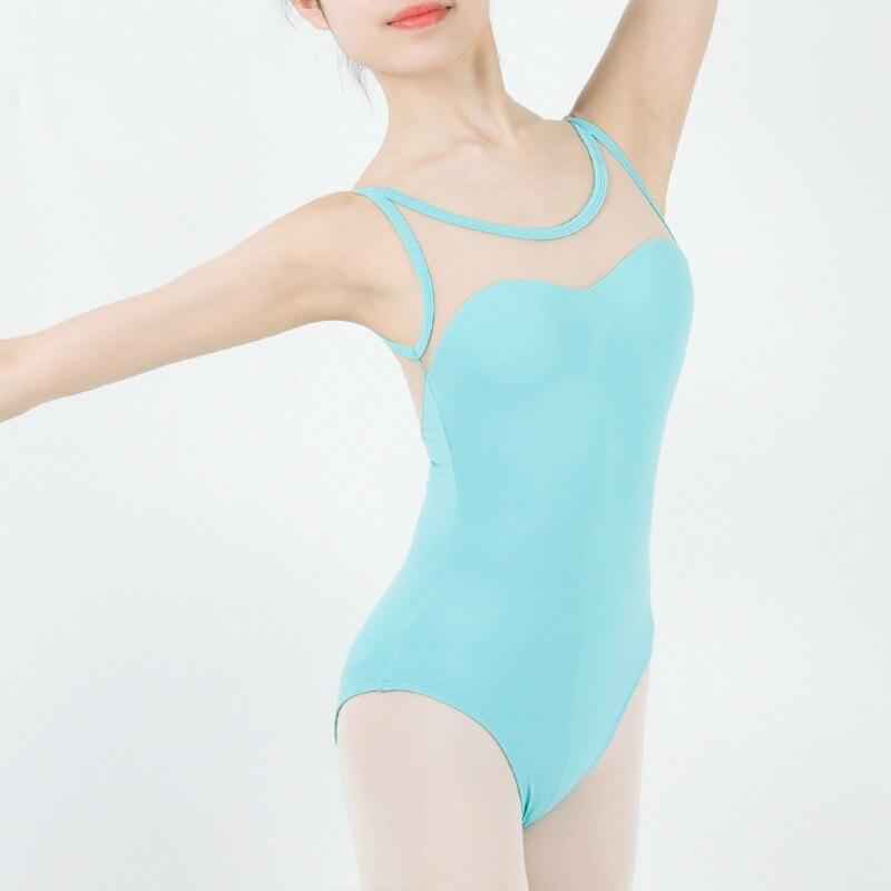 Leotardo de Ballet de danza, malla delantera para pecho, gasa para Yoga, gimnasia artística, tela elástica, leotardo de Ballet