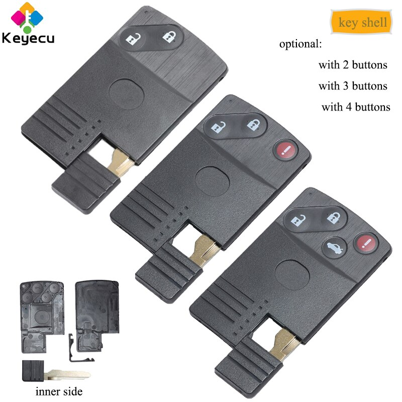 KEYECU Замена смарт-карты дистанционного ключа оболочки-2/ 2 + 1/3/3 + 1/4 кнопки и отрезание лезвия-FOB для Mazda 5 6 CX-7 CX-9 RX8 Miata MX5