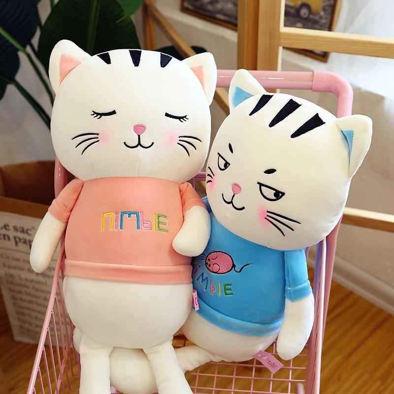 40-80cm Cute Cat Sleep Long Plush Sleeping Send Children Knee Pillow Almofada Coussin Overwatch Cojines Decorativos Cushion
