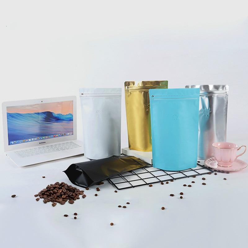 100 pcs saco de Café da folha de alumínio zip lock saco de válvula de enchimento auto-pé zipper doces pacote de presente