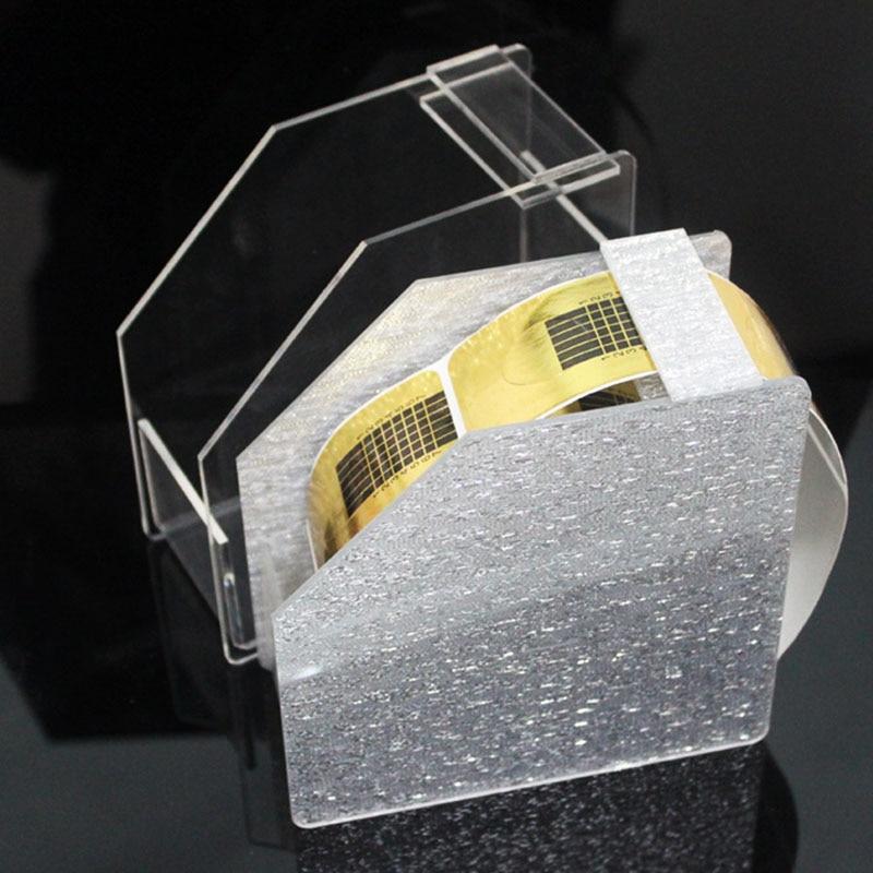Caja de almacenamiento con soporte plateado para cinta de manicura, organizador de acrílico, pegatinas, estuche vacío con rodillo, cajas de herramientas de manicura de decoración de uñas