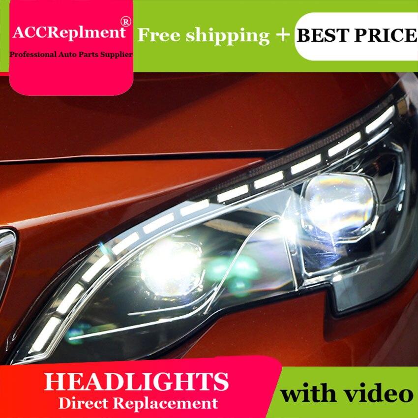 Auto Lighting Style LED Head Lamp for PEUGEOT 3008 led headlights 2017-2018 cob signal led H7 hid Bi-Xenon Lens low beam
