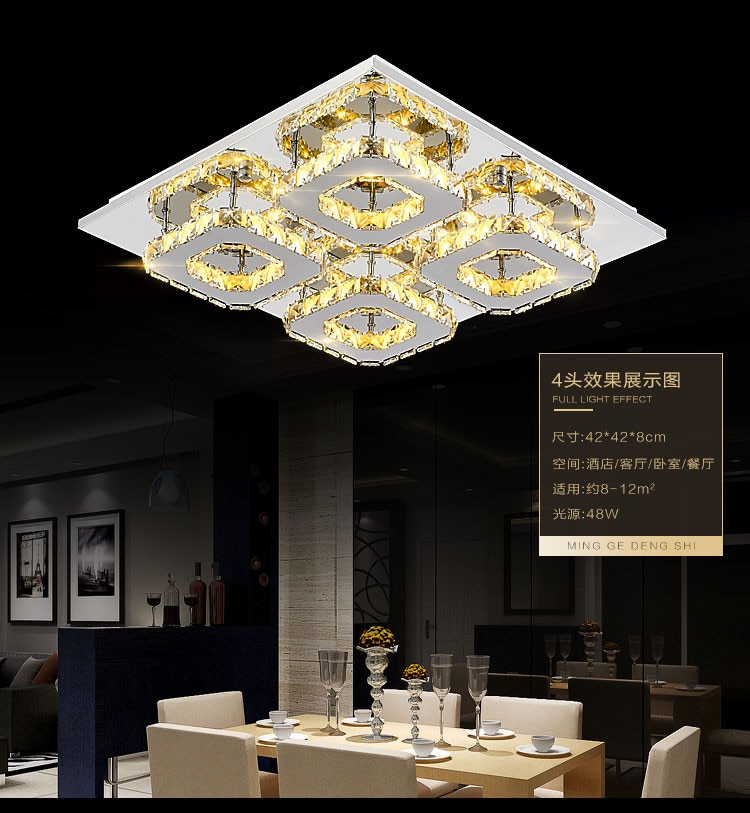 Transparent/Amber Led K9 Crystal Ceiling Light For Living Room lamp k9 crystal Ceiling Lamps For Home Decoration lustre lamp  - buy with discount