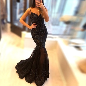 robe de soiree Mermaid Embroidery Lace Evening Dress Spaghetti Straps Sweetheart Sheer Illusion Beaded Long Prom Bridal Gowns
