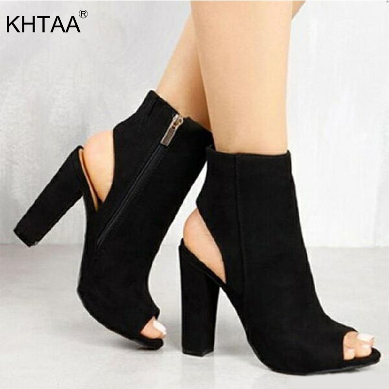 Nuevas zapatillas de tacón alto de gamuza para mujer, zapatos de tacón con cremallera para mujer, zapatos de tacón cuadrado con plataforma, calzado de fiesta a la moda para mujer