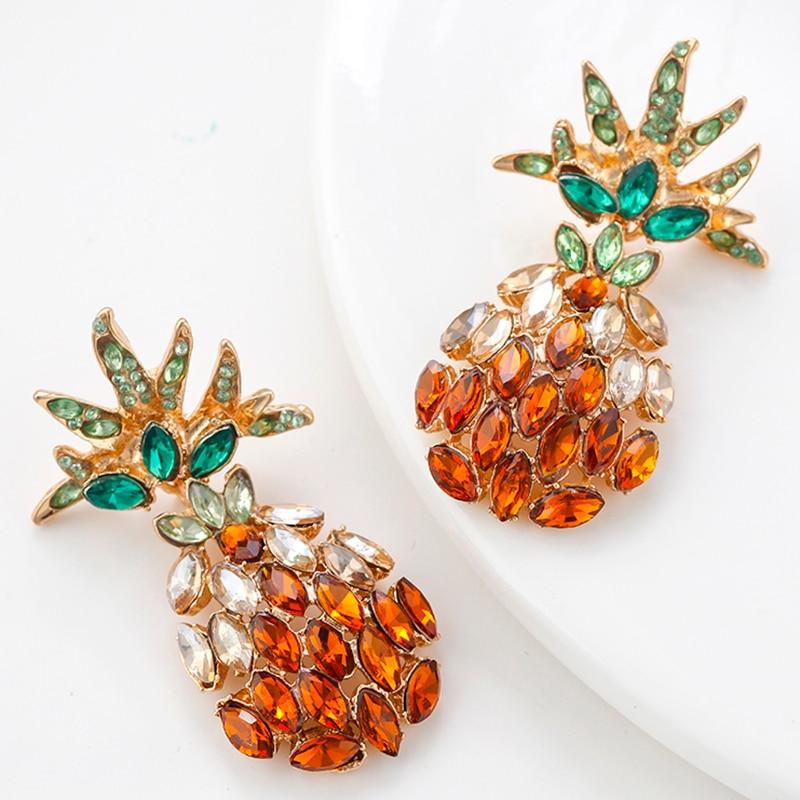 AENSOA Summer Candy Color Crystal Pineapple Big Stud Earrings For Women Pineapple Rhinestone Statement Earrings Fashion Jewelry