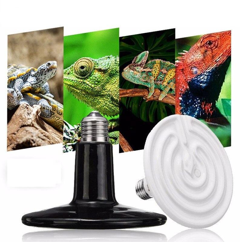 Bombilla de calor con emisor de cerámica infrarrojo, bombillas E27, accesorio de iluminación de 25-300W 125mm para reptiles, luz de cría de mascotas, CA 110/220V