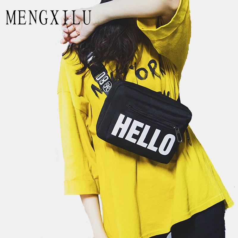 MENGXILU, riñonera con remaches para mujer, bolsos de lona de alta calidad, ligero, bolso de compras con correa, bolsa de teléfono Bolosa