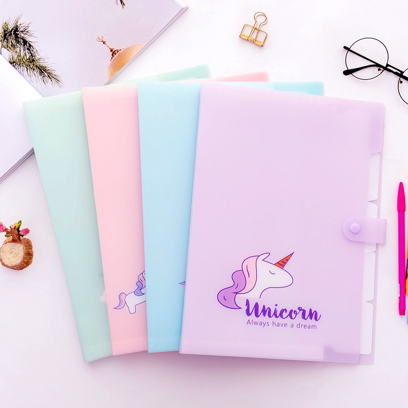 Kawaii Coreano A4 unicornio, bolsa de documentos para niña, carpeta de archivos, carpeta de carpetas de facturas, precioso material de papelería creativo, material escolar