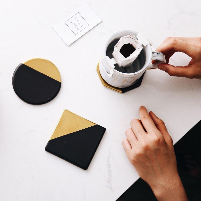 Tasse en céramique placage dor   De luxe, tapis de tasse, porcelaine boisson tasse à café sous-verres noir de Table décorations de maison, outil de cuisine