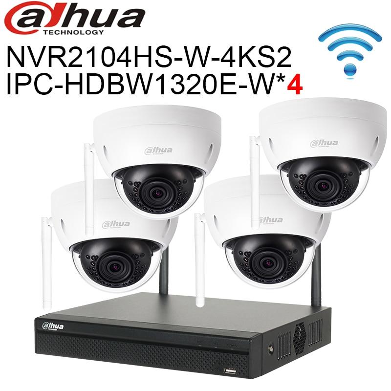 Dahua sistema de cámaras de seguridad inalámbrico 4 canales Wifi NVR2104HS-W-4KS2 3MP WIFI cámara IP IPC-HDBW1320E-W 4 Uds kit de sistema CCTV