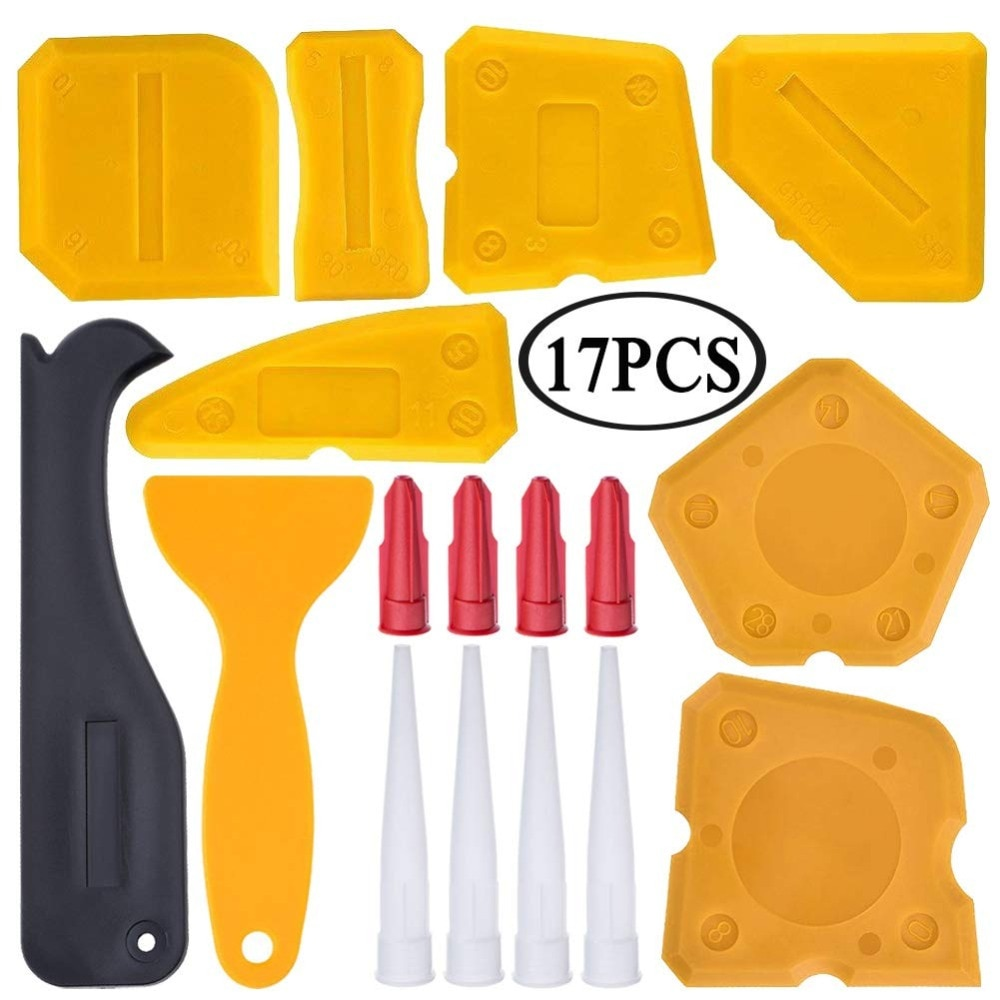 17 piezas de kit de herramientas para calafateo, herramienta de acabado de sellador de silicona, raspador de lechada, removedor de calafateo y boquilla de calafateo y tapones de calafateo